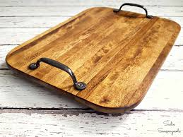 farmhouse style tray from a thrift cutting board