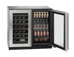 ultra modern double door beverage center also wine cooler rack plus long chrome door handle