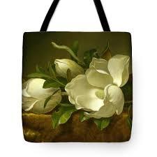 Magnolias On Light Blue Velvet Cloth Magnolias On Gold Velvet Cloth Tote Bag