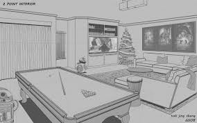 ... CaptainChihuahua 2 Point Perspective of Interior Living Room by  CaptainChihuahua