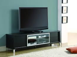 Flat Screen Tv Console Black Painted Oak Wood Wide Screen Tv Stand Mixed Light Blue Wall