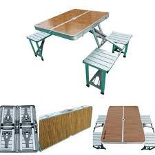 folding picnic table wood finish top
