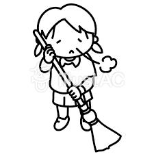 ほうきで掃除をする女の子やる気なしイラスト No 566039無料