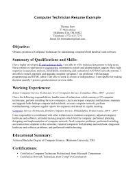 Resume Of Computer Technician Resume For Study