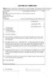 english teaching worksheets a letter of complaint english worksheets letter of complaint