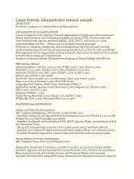 Experiencednux Systems And Network Administrator Resume Sample Admin