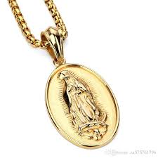 whole fashion men necklace blessed virgin mary pendant design 18k gold plated stainless steel filling pieces mens hip hop jewelry gold pendant necklace