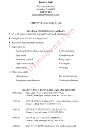 Resume Sample Auto Body Repair