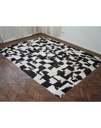black white patchwork cowhide rug 447