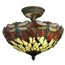 springdale lighting dragonfly 2 light antique bronze ceiling semi flush mount light