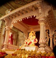 interior design view decoration themes for ganesh festival at
