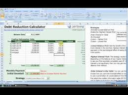 debt reduction calculator snowball debt reduction calculator vertex42 youtube