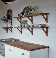 Easy Farmhouse Style DIY kitchen open shelving wood stained, free plans by  ANA-WHITE.com