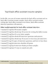 Back Office Assistant Resume Samples Velvet Jobs Cv S Sevte