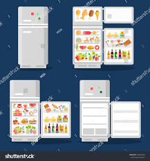 open refrigerator in kitchen. opened refrigerator with food in flat style. fridge open, and vegetable, fresh open kitchen
