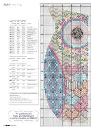 Colorful Heart Owl Full Free Cross Stitch Pattern With Dmc