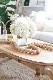 wooden bead garland as a coffee table accent