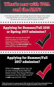 advice about the uga admission process redesigned sat in the spring of 2016 the college board will release their newly redesigned sat test and the essay portion will be optional this will not have an impact