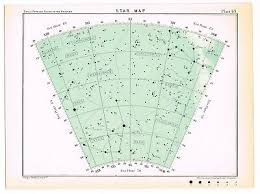 Antique Print Vintage 1913 Astronomy Star Map Chart Teal