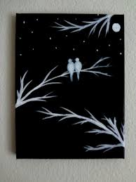black canvas paintings art painting on and white acrylic love birds silhouette wall decor i home