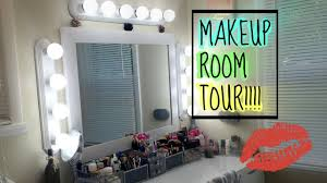 makeup room tour diy vanity lights 2016