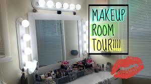 makeup room tour diy vanity lights 2016
