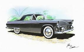 t bird painting 1956 ford thunderbird black classic vintage sports car art sketch rendering