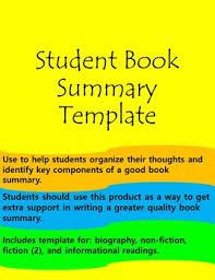 Student Book Summary Templates By The Teacher Stool Tpt