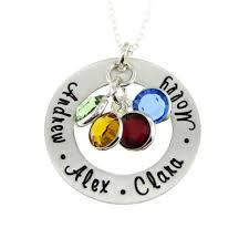 children s names with birthstones mothers birthstone necklace hand stamped sterling silver necklace nn031