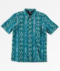 Volcom Big Boy Size Chart Volcom Boys Slogan Blue Woven Button Up Shirt