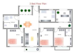 3 Bed Floor Plan  Free 3 Bed Floor Plan TemplatesFloor Plan Download