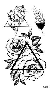 Amazoncom Rose Triangle Temporary Tattoo Body Decals Clothing