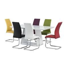 home dining lucca white gloss dining table set with 6 multi coloured chairs