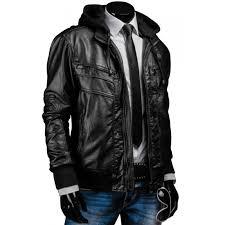 mens slim fit black leather jacket with hood