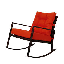 for kinbor rattan rocker chair outdoor garden rocking chair wicker lounge w orange cushion at whole on crov com