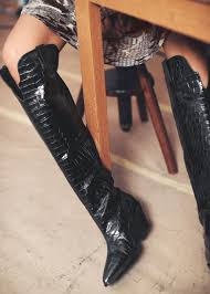 other stories black patent croc knee high cowboy boots view fullscreen