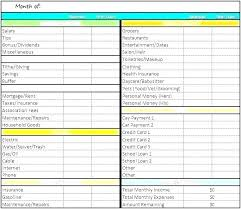 Personal Expenses Worksheet Monthly Expense Budget Template Income And Personal Finance