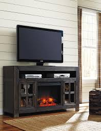 Large Black Tv Stand Distressed Black Large Tv Stand With Electric Fireplace Unit By