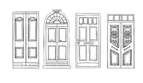 hand drawn vector ilrations old vine doors isolated on stock vector ilration