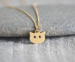 cat necklace with diamond eyes kitten