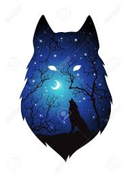 Double Exposure Silhouette Of Wolf In The Night Forest Blue