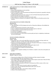 Manufacturing Operator Resume Samples Velvet Jobs