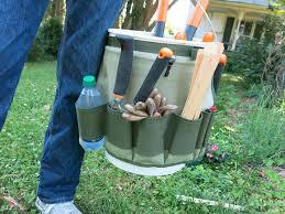 garden bucket. Garden Bucket Caddy Bucket, Holding Bottle Of Water, Wooden Plant Markers N