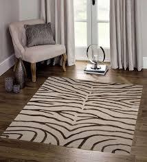 brown ivory wool viscose 96 x 60 inch hand tufted zebra design area rug