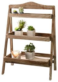 Home Garden Collections - Foldable Wooden Plant Stand For Outdoor Or  Greenhouse, Three Shelves -