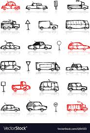 Set Of Cars Sketch And Traffic Signs For Your