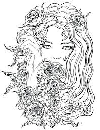 Floral Coloring Pages Pretty Girl With Flowers Coloring Page Recolor