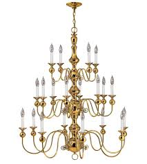 hinkley 5127pb virginian 20 light 37 inch polished brass chandelier ceiling light 3 tier