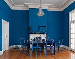Bold Blue Interior Paint Color For Dining Room, interior painting tips,  interior paint color schemes ~ Home Design
