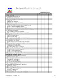 Assessment 2 Year Old Page 1 Of 3 Preschool Checklist